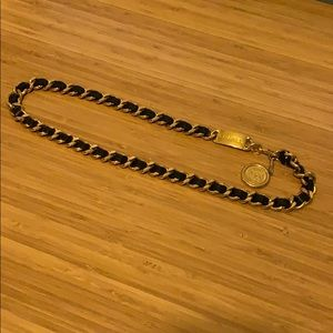 Vintage CHANEL leather/chain belt